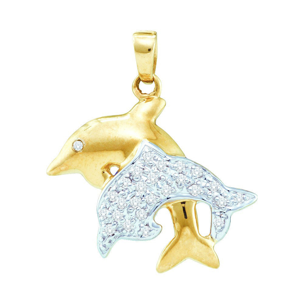 10k Yellow Gold Round Natural Pave-set Diamond Womens 2-tone Dolphin Animal Pendant 1/8 Cttw