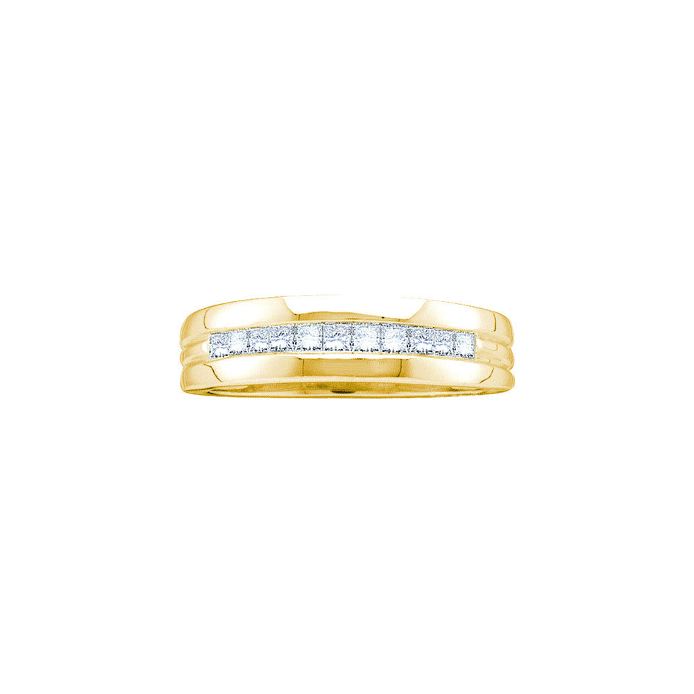 14kt Yellow Gold Mens Princess Natural Diamond Band Wedding Anniversary Ring 1.00 Cttw