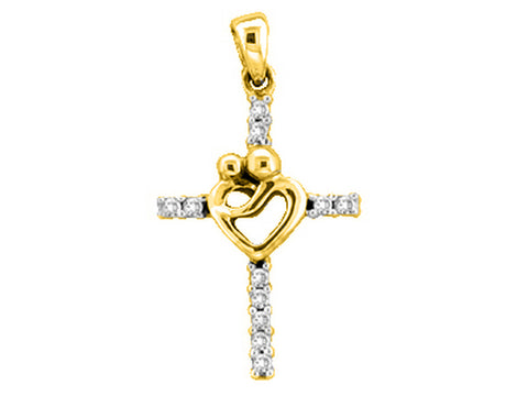 10k Yellow Gold Round Diamond Womens Mothers Mom Child Embrace Cross Pendant 1/10 Cttw