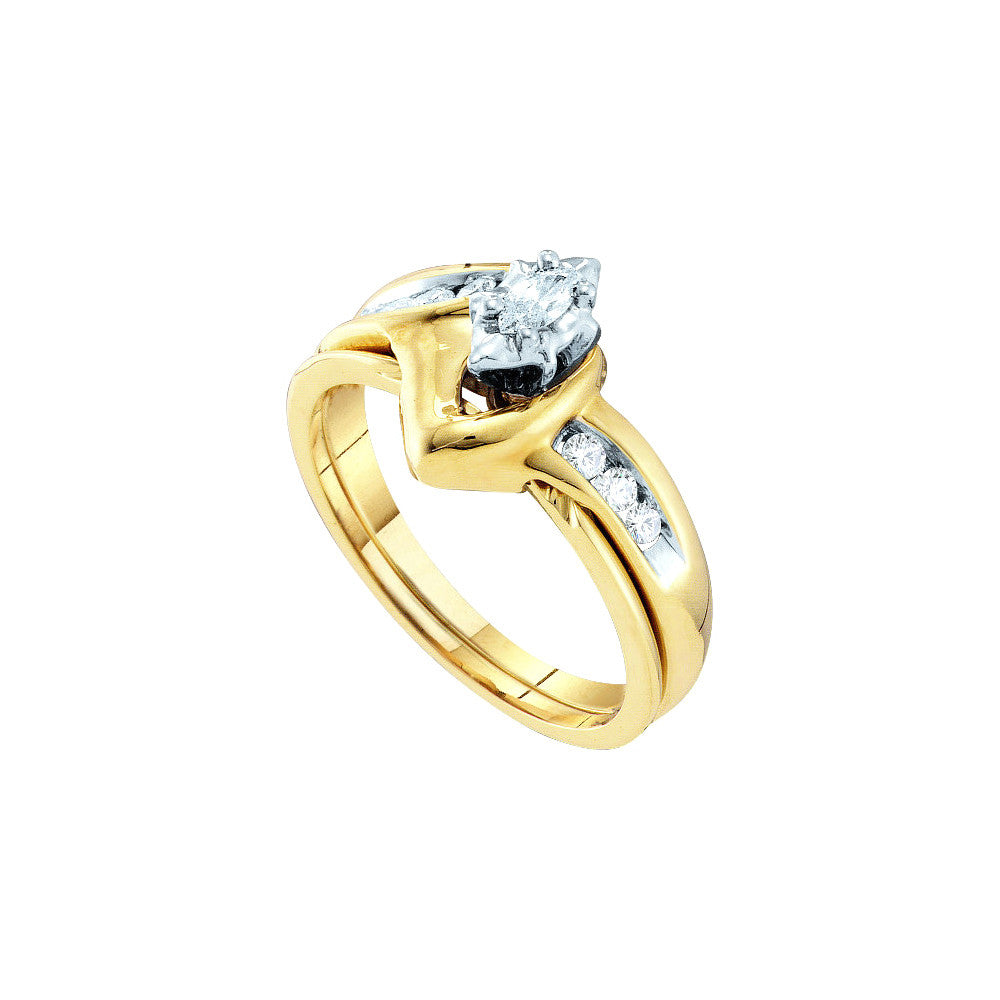 10k Yellow Gold Natural Marquise Diamond Solitaire Womens Classic Wedding Bridal Set 1/4 Cttw