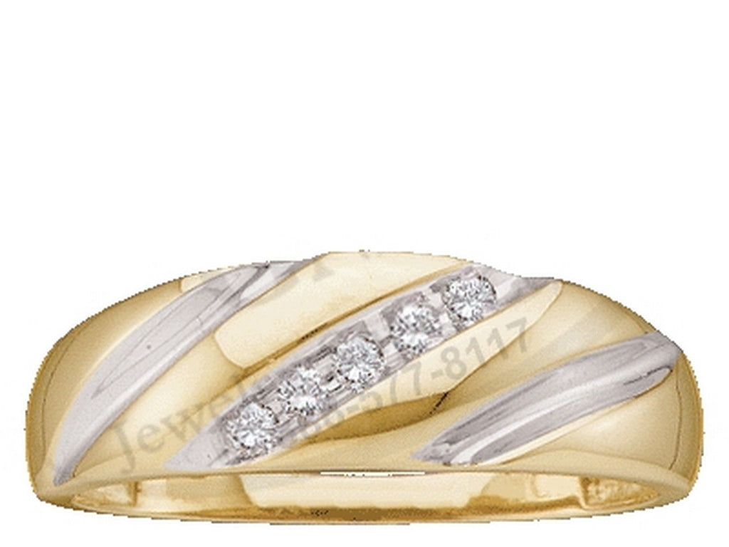 10k Yellow Gold Round Channel-set Natural Diamond Mens 2-tone Wedding Anniversary Band 1/10 Cttw