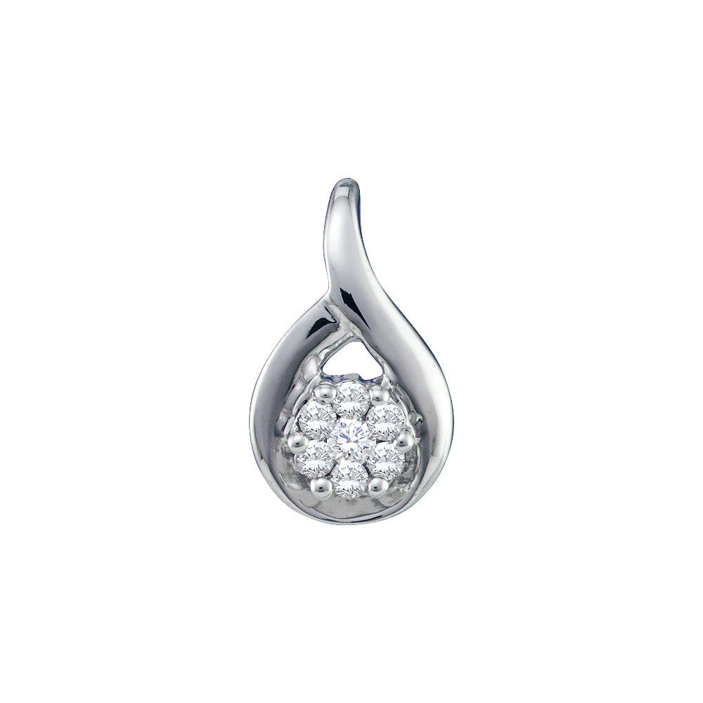 14k White Gold Round Natural Diamond Flower Cluster Womens Small Dainty Fine Pendant 1/12 Cttw