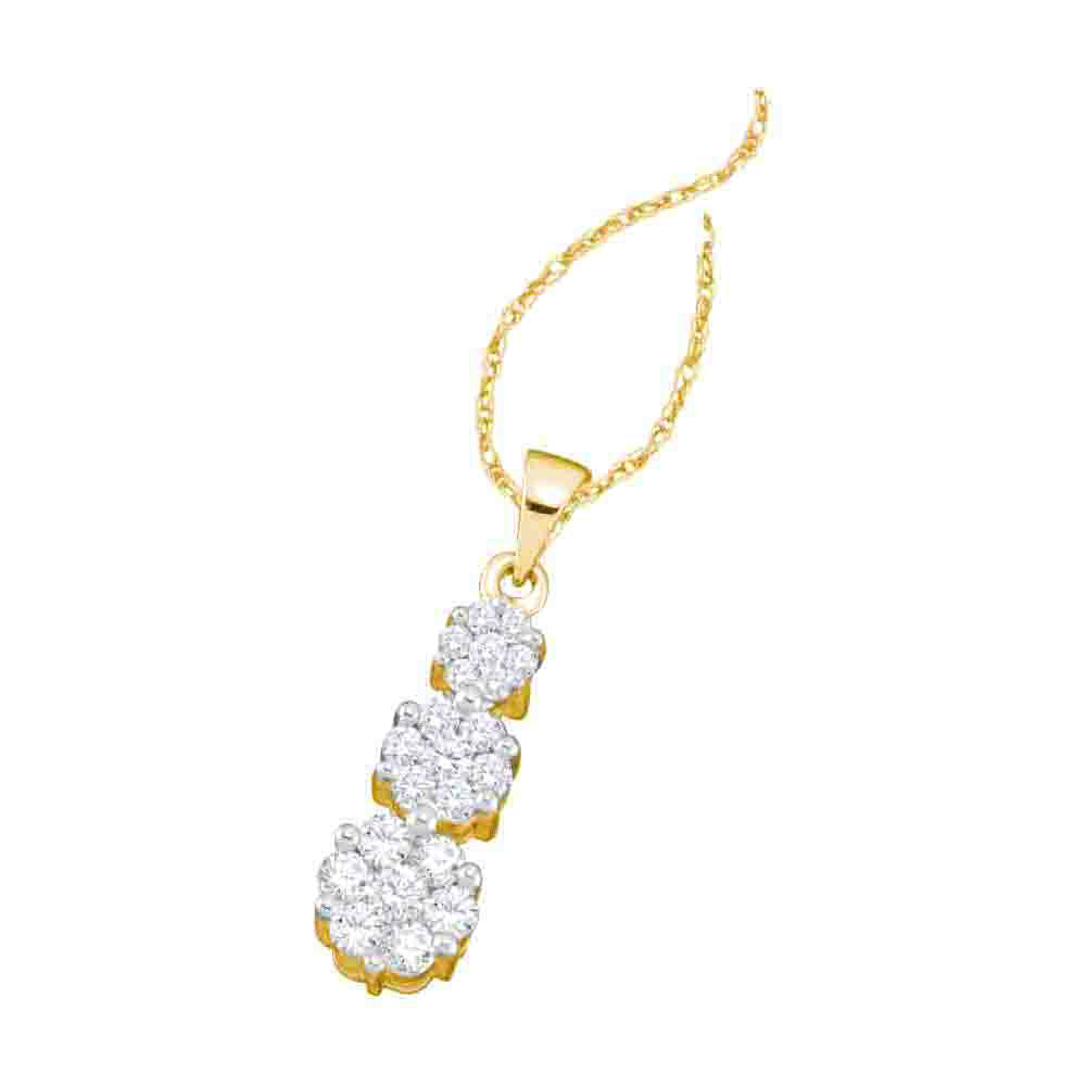 14k Yellow Gold Flower Cluster Round Natural Diamond Womens Drop Luxury Pendant 1.00 Cttw