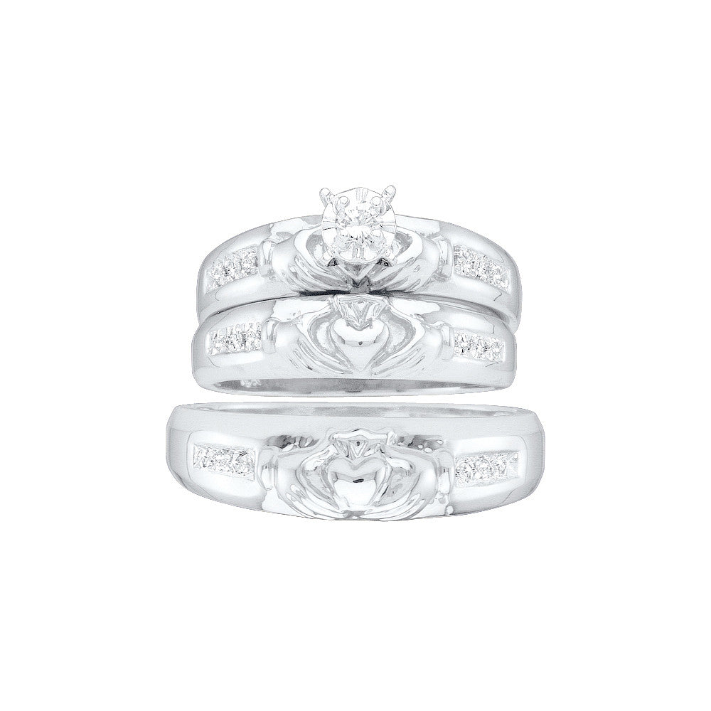10k White Gold Diamond Matching Claddagh Mens Womens His & Hers Trio Wedding Ring Set 1/8 Cttw