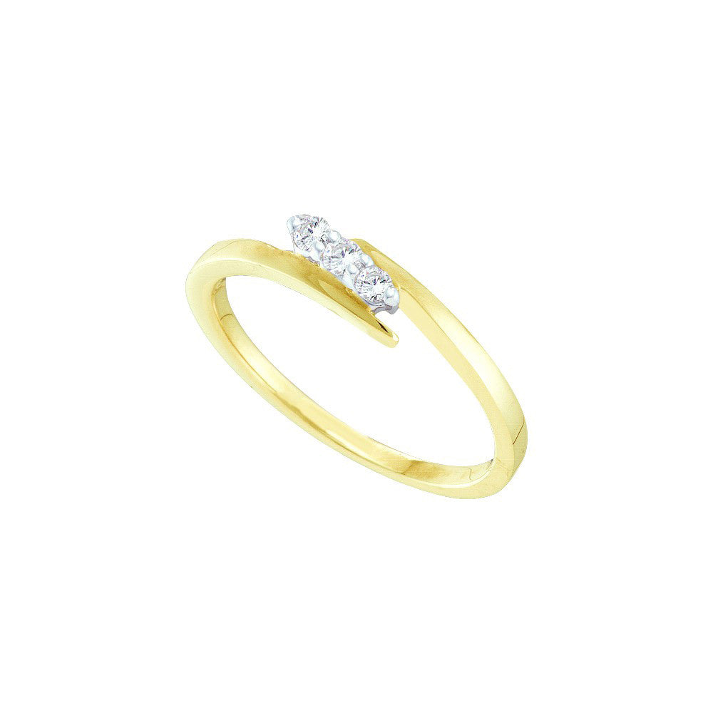 10k Yellow Gold 3-stone Round Natural Diamond Womens Slender Bridal Promise Ring 1/10 Cttw