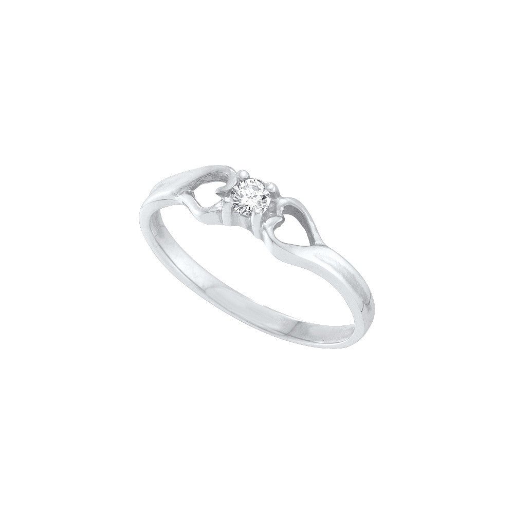 10k White Gold Round Natural Diamond Solitaire Womens Bridal Promise Ring Heart 1/10 Cttw