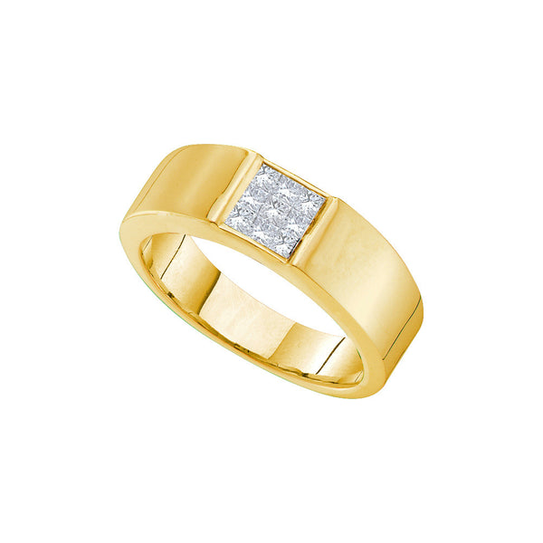 14k Yellow Gold Princess Natural Diamond Mens Wedding Anniversary Band Ring 1/2 Cttw