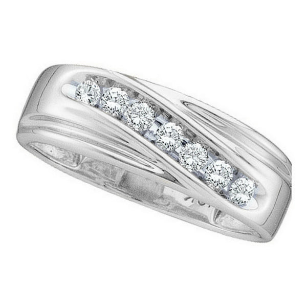 14k White Gold Round Channel-set Natural Diamond 8-13 Mens Curved Wedding Band 1/4 Cttw