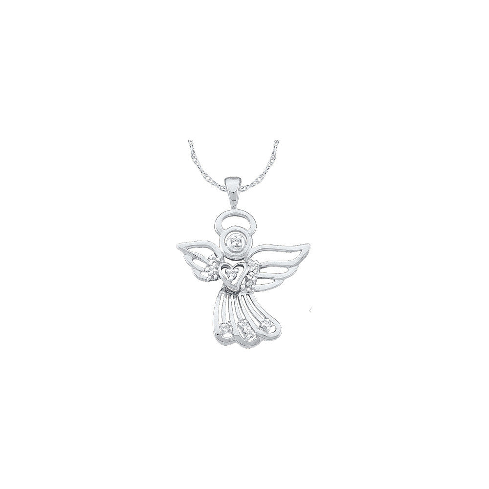 14k White Gold Round Natural Diamond Womens Guardian Angel Spiritual Faith Pendant 1/10 Cttw