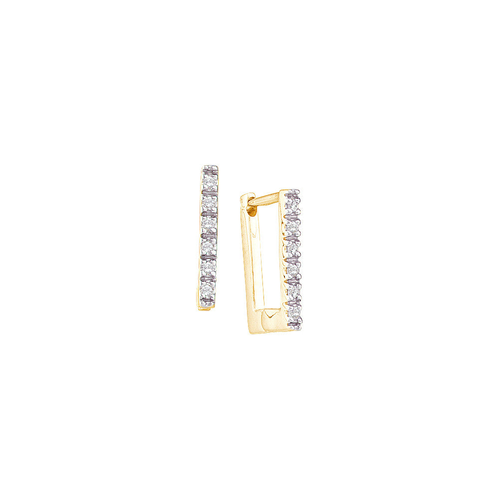 14k Yellow Gold Round Natural Diamond Womens Classic Square Rectangle-shape Hoop Earrings 1/20 Cttw