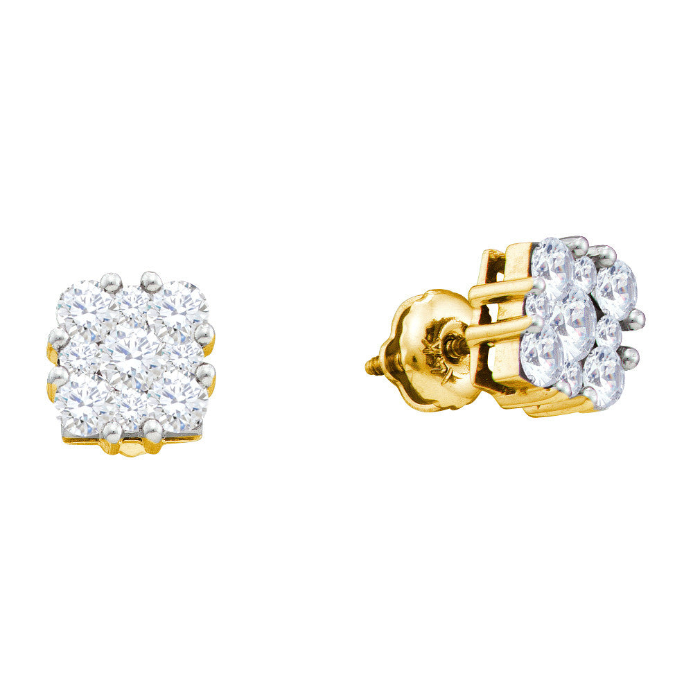 14k Yellow Gold Round Natural Diamond Square-shape Cluster Womens Screwback Stud Earrings 1.00 Cttw