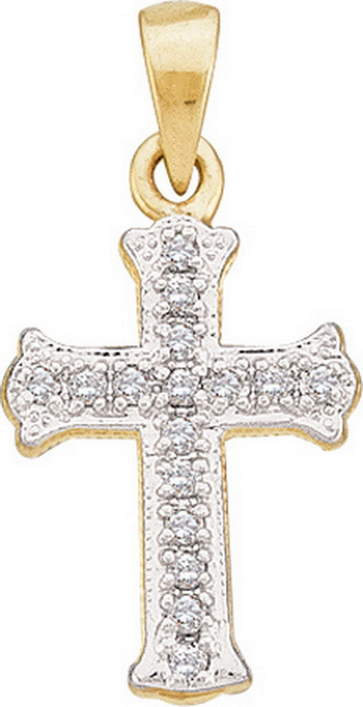 14k Yellow Gold Round Natural Diamond Scalloped Womens Christian Cross Pendant 1/12 Cttw