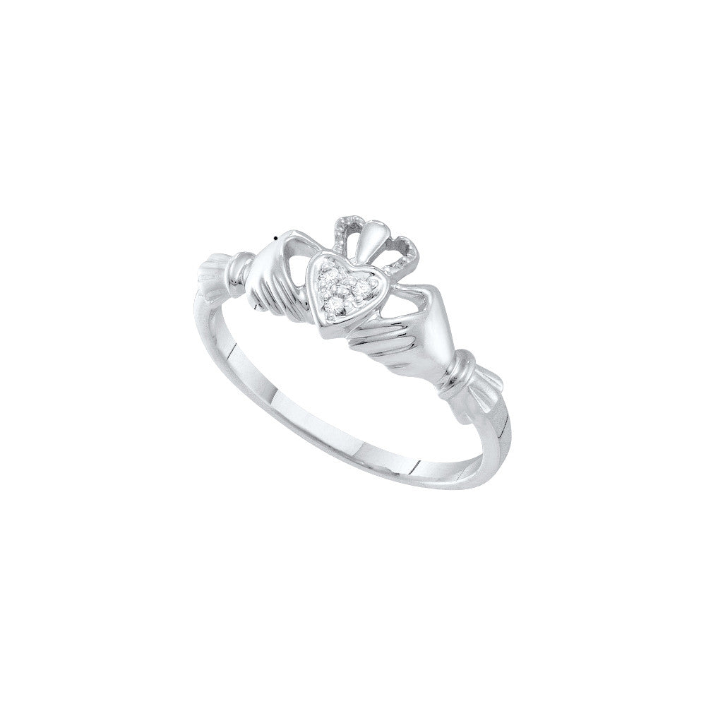 14k White Gold Diamond Womens Small Dainty Claddagh Engagement Wedding Bridal Ring .01 Cttw