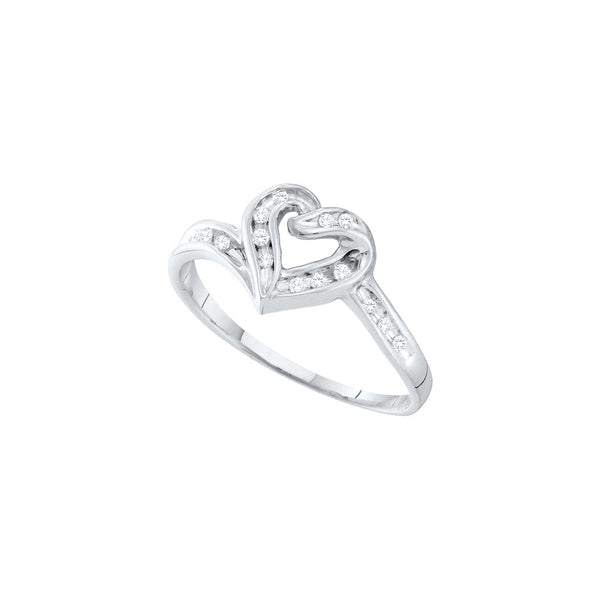 10kt White Gold Womens Round Natural Diamond Heart Love Fashion Ring 1/12 Cttw