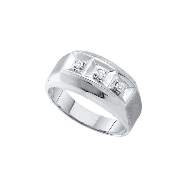 10k White Gold Mens Round 3-stone Natural Diamond Brushed-Satin Masculine Wedding Band 1/10 Cttw