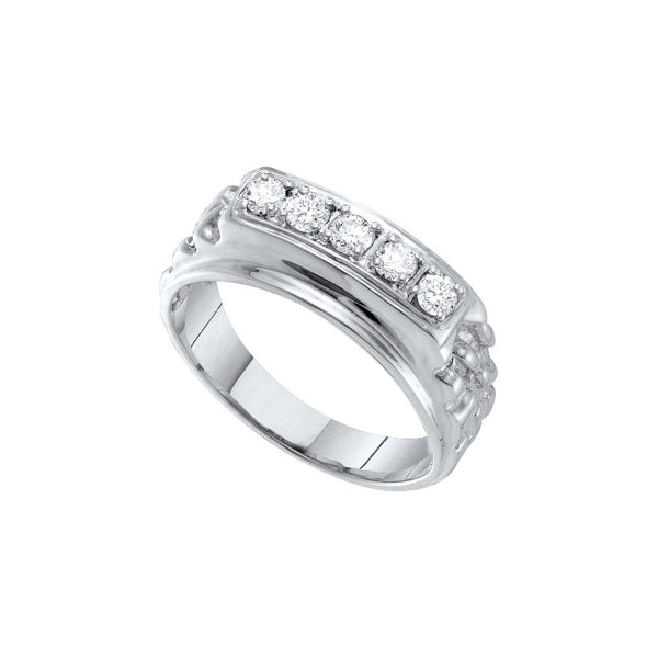 10k White Gold Mens Masculine Traditional Round Natural Diamond Nugget Wedding Band 1/2 Cttw