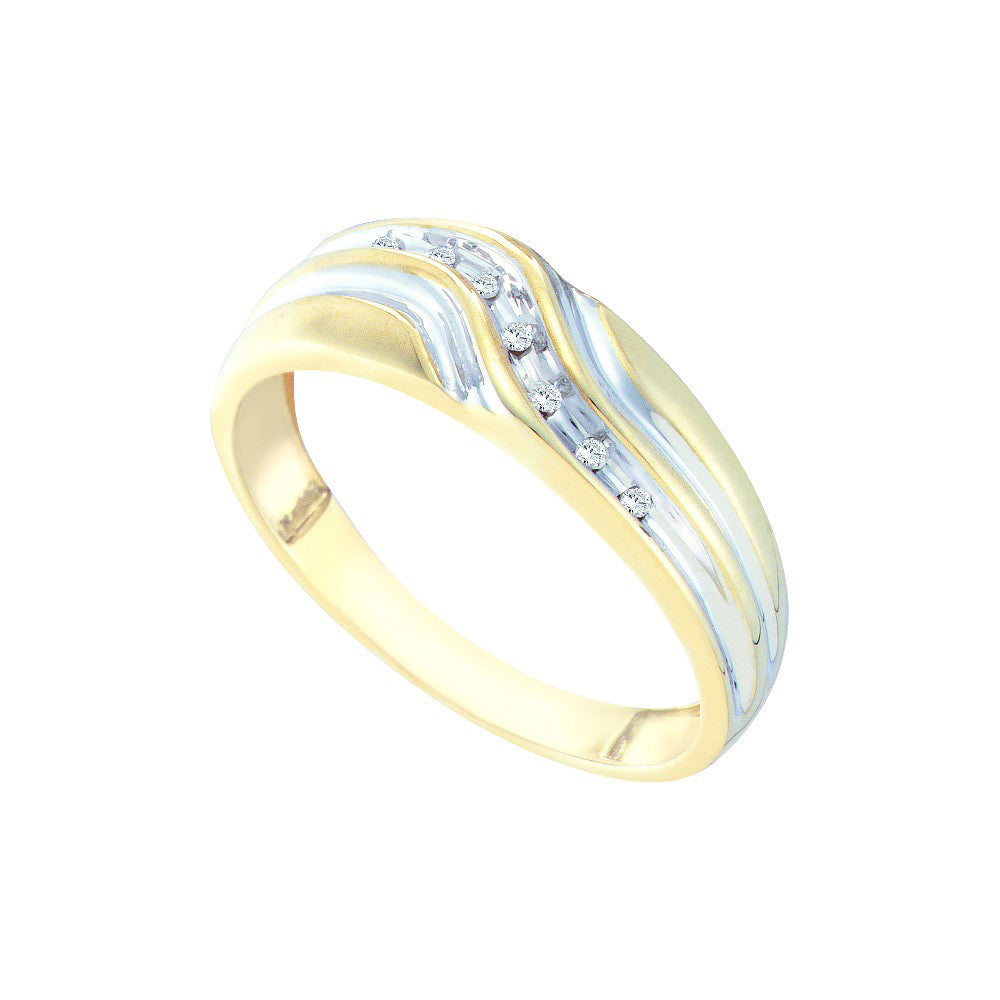 10k Yellow Gold Round Natural Diamond Mens Masculine 2-tone Wedding Band 1/20 Cttw