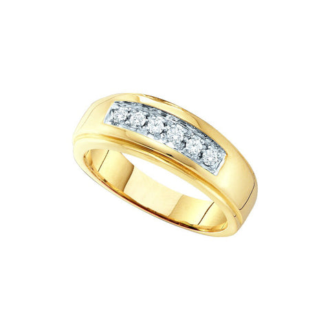 14kt Yellow Gold Mens Round Natural Diamond Band Wedding Anniversary Ring 1/4 Cttw