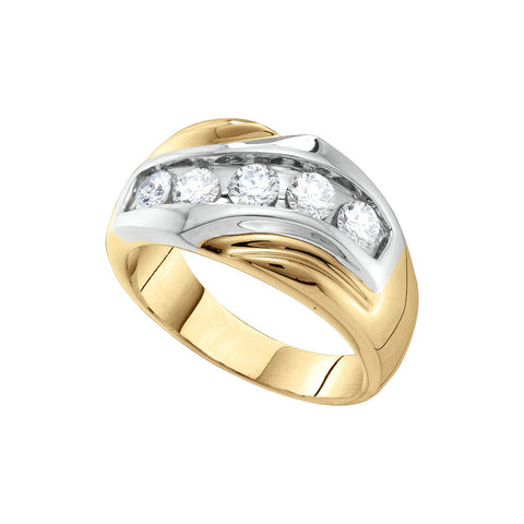 14k Yellow Gold Round Channel-set Natural Diamond Mens 2-tone Wedding Anniversary Band Ring 1.00 Cttw