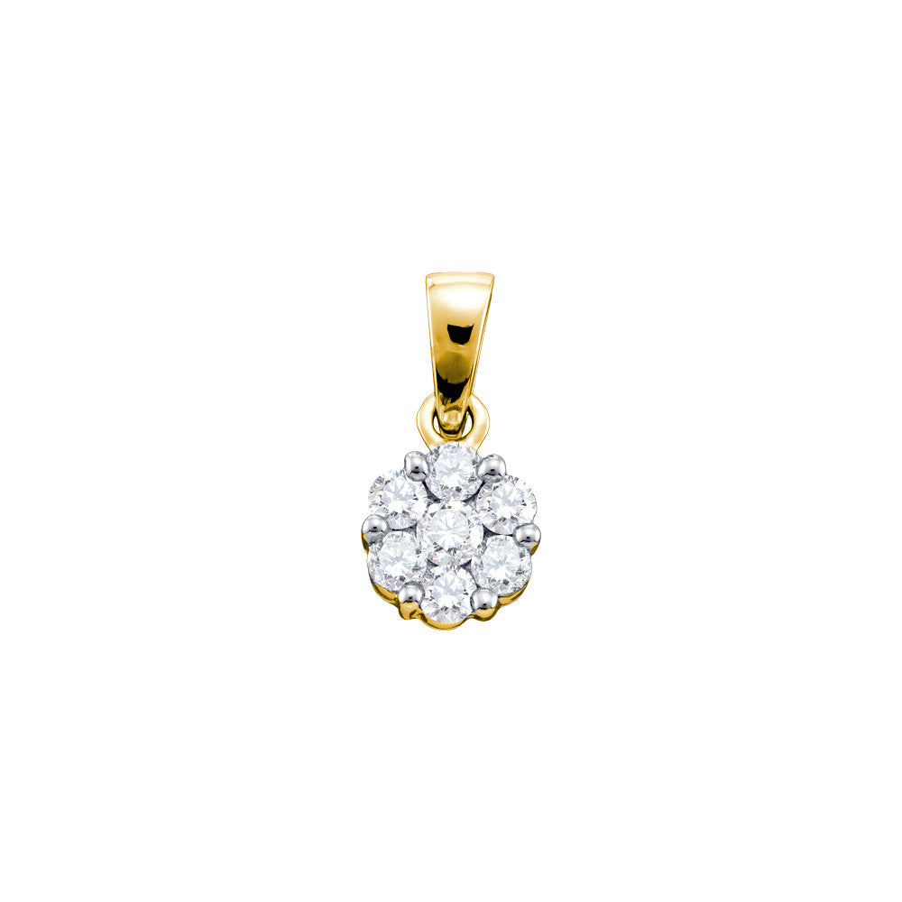 14kt Yellow Gold Womens Round Natural Diamond Cluster Fashion Pendant 3/4 Cttw