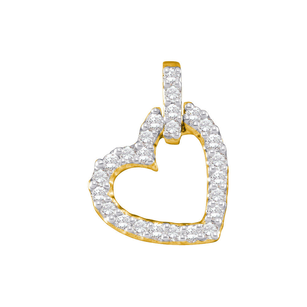 14k Yellow Gold Round Pave-set Natural Diamond Womens Small Dangling Heart Pendant 1/4 Cttw
