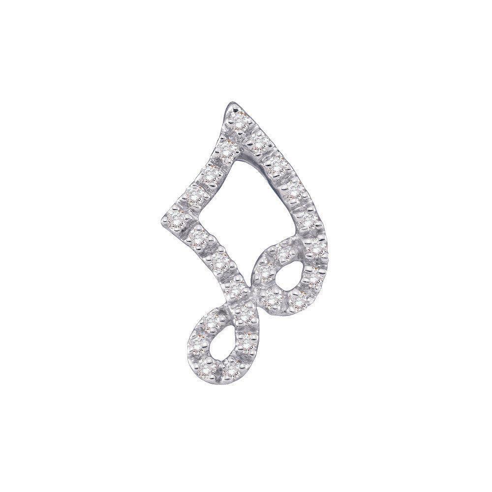14k White Gold Round Natural Diamond Womens Small Adorable Musical Half-note Pendant 1/10 Cttw