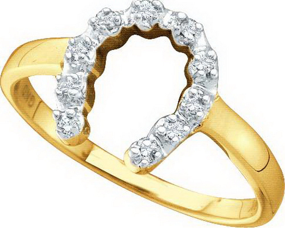 10k Yellow Gold Round Natural Diamond Womens Small Dainty 2-tone Horseshoe Lucky Ring 1/20 Cttw