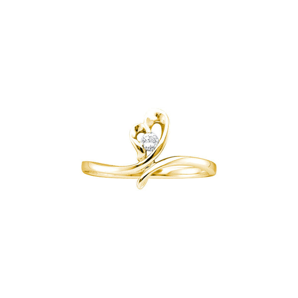 14k Yellow Gold Round Natural Diamond Solitaire Womens Heart Promise Ring Love 1/20 Cttw