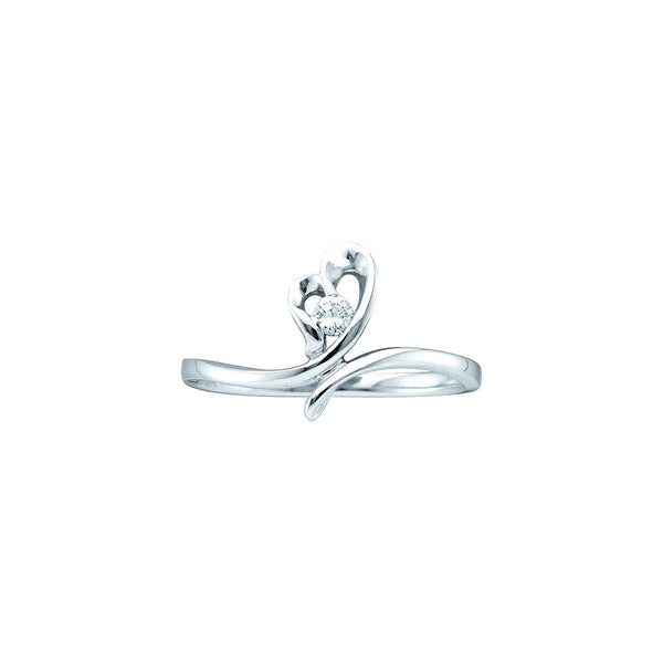 14k White Gold Round Natural Diamond Solitaire Womens Heart Promise Ring Love 1/20 Cttw