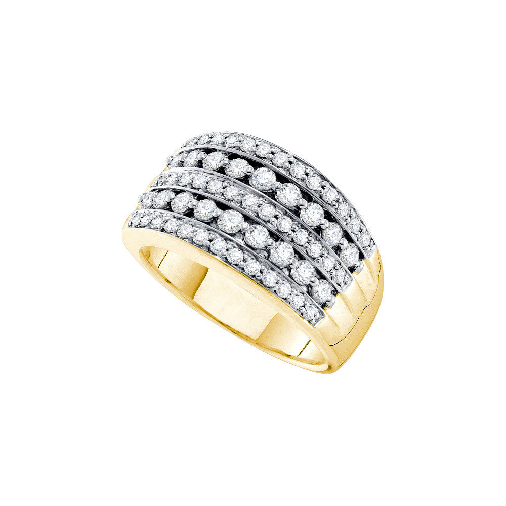 14k Yellow Gold Womens Natural Round Diamond Striped Pave Cocktail Fashion Band Ring 1.00 Cttw