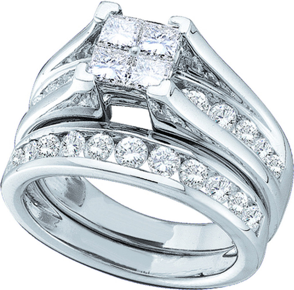 14k White Gold Princess Natural Diamond Womens Size 6 Wedding Bridal Ring Set 1.00 Cttw