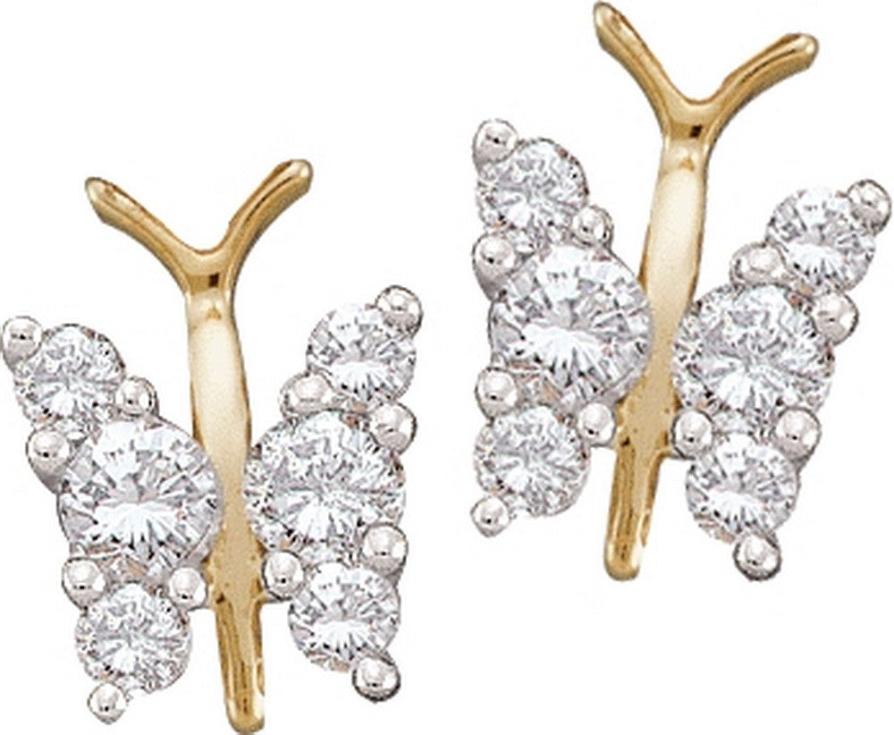 14k Yellow Gold Round Diamond Cluster Womens Butterfly Bug Wings Screwback Stud Fine Earrings 1/3 Cttw