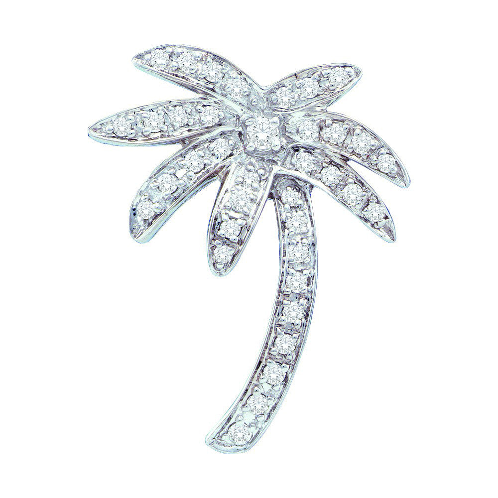 14k White Gold Round Natural Diamond Womens Fancy Palm Tree Beach Nautical Pendant 1/4 Cttw