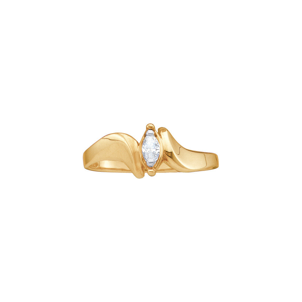 10k Yellow Gold Marquise Diamond Solitaire Womens Small Dainty Bridal Promise Ring 1/20 Cttw