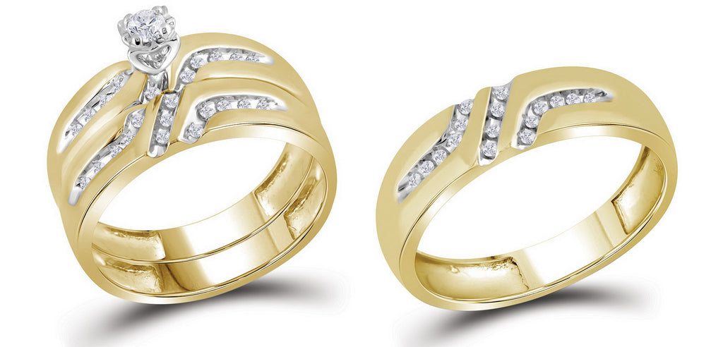 10k Yellow Gold Round Diamond His & Hers Mens Womens Matching Trio Wedding Bridal Ring Set 1/4 Cttw