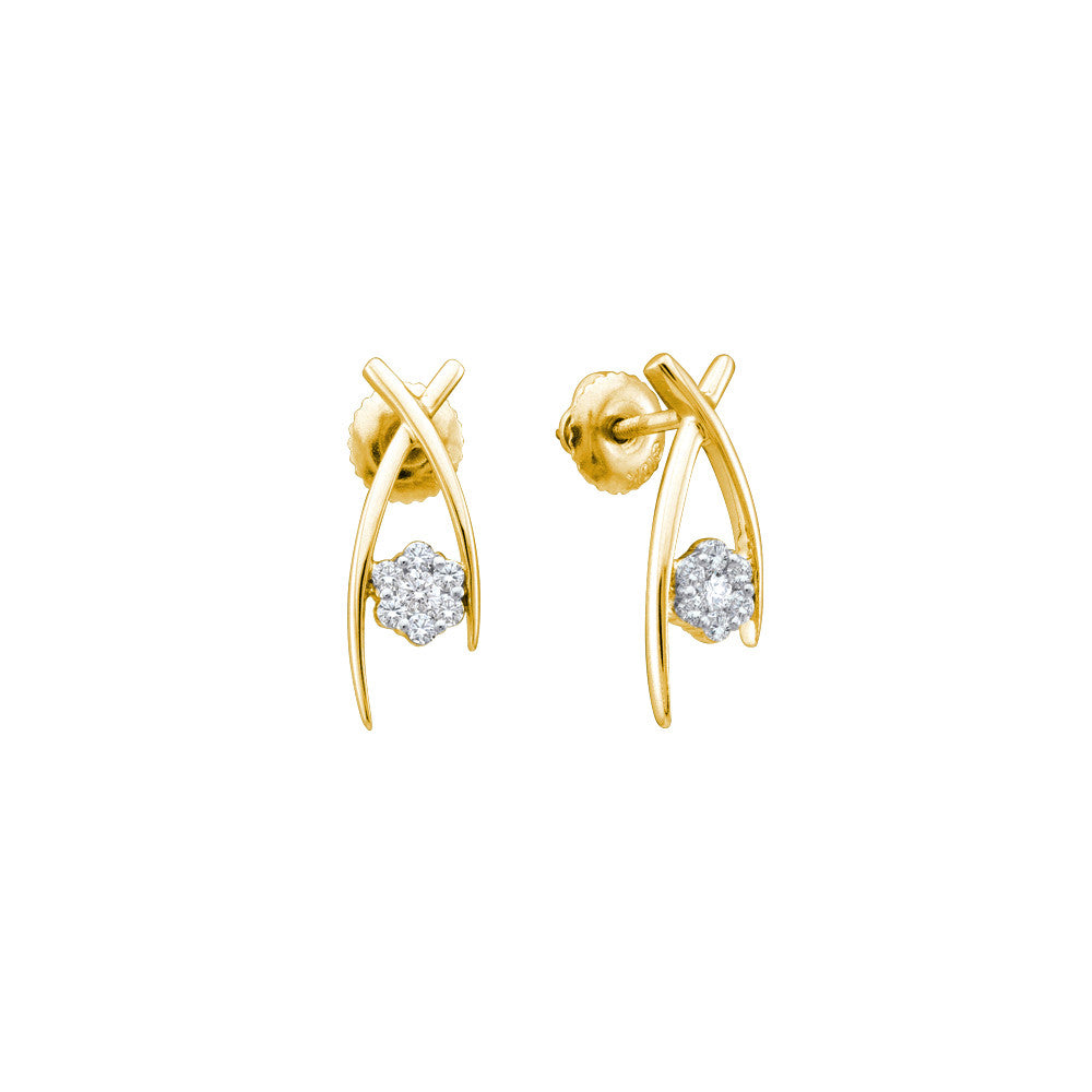14k Yellow Gold Flower Cluster Natural Diamond Womens Screwback Earrings 1/4 Cttw