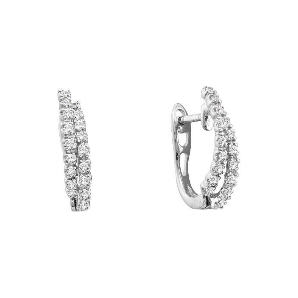 14kt White Gold Womens Round Natural Diamond Huggie Fashion Earrings 1/4 Cttw