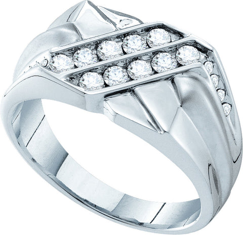 14k White Gold Round Natural Diamond Channel-Set Mens Masculine Wedding Band 5/8 Cttw