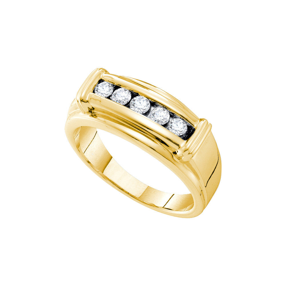 14k Yellow Gold Round Natural Diamond Channel-Set Mens Masculine Wedding Band 1/2 Cttw