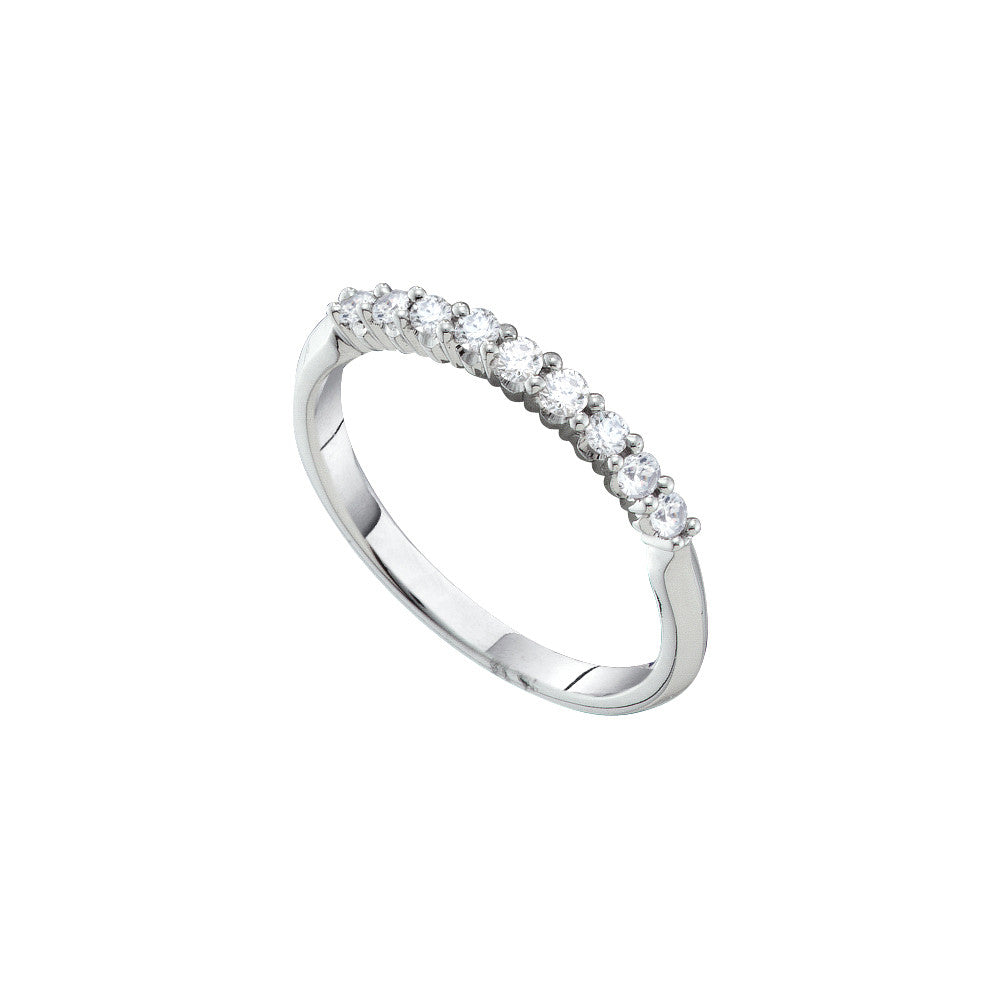 14k White Gold Round Natural Diamond Womens Pave-set Anniversary Wedding Band 1/4 Cttw