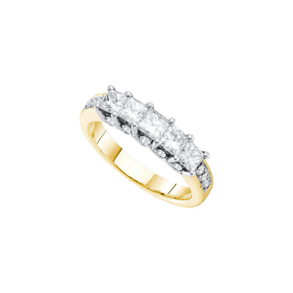 14kt Yellow Gold Womens Princess Natural Diamond 5-stone Wedding Anniversary Ring 1 & 1/2 Cttw