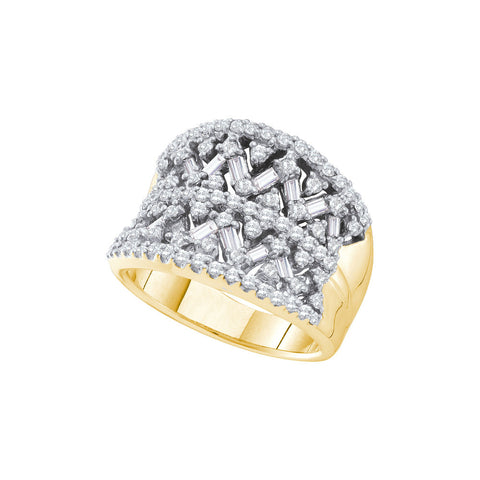 14kt Yellow Gold Womens Round Natural Diamond Cocktail Fashion Ring 1 & 1/4 Cttw