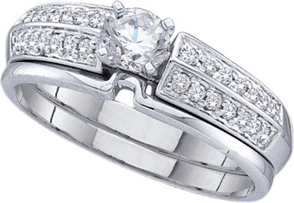 14k White Gold Round Natural Diamond Solitaire Womens Bridal Ring Wedding Set 1/2 Cttw