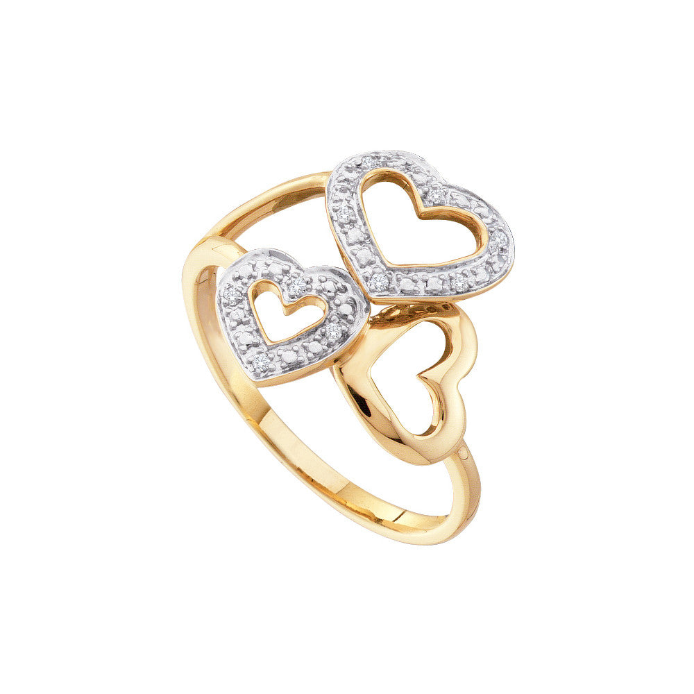 10k Yellow Gold Round Natural Diamond-accented Triple Heart Womens Unique Cocktail Ring .03 Cttw