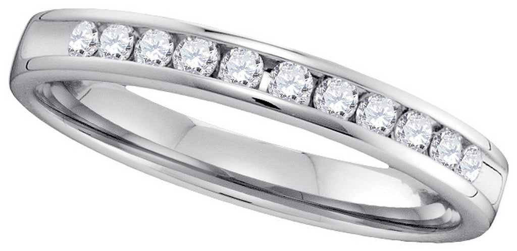 14k White Gold Round Natural Diamond Channel-Set Womens 2.5mm Wedding Anniversary Band 1/4 Cttw