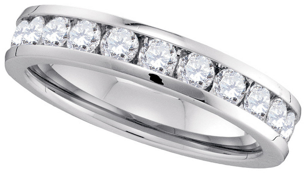 14k White Gold Round Natural Diamond Channel-Set Womens 4.5mm Wedding Anniversary Band 1.00 Cttw