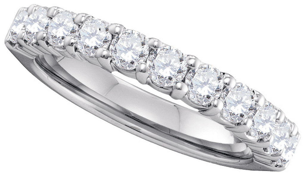 14k White Gold Womens Natural Round Diamond Pave Wedding Anniversary Band 1.00 Cttw