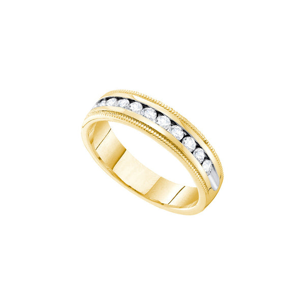 14k Yellow Gold Mens Natural Round Diamond Wedding Anniversary Band Ring 1/4 Cttw