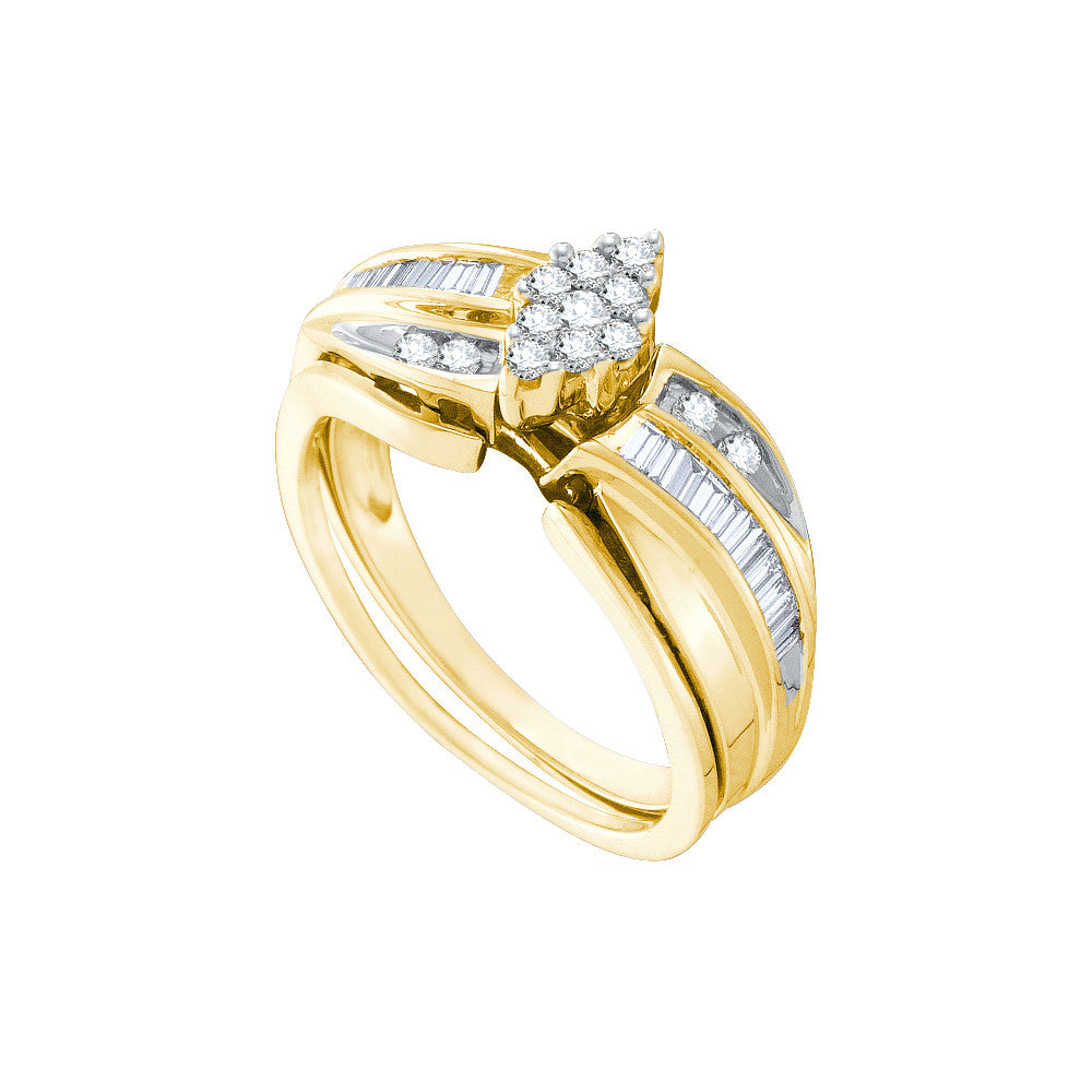 10k Yellow Gold Natural Round Diamond Cluster Womens Wedding Bridal Ring Set 3/8 Cttw