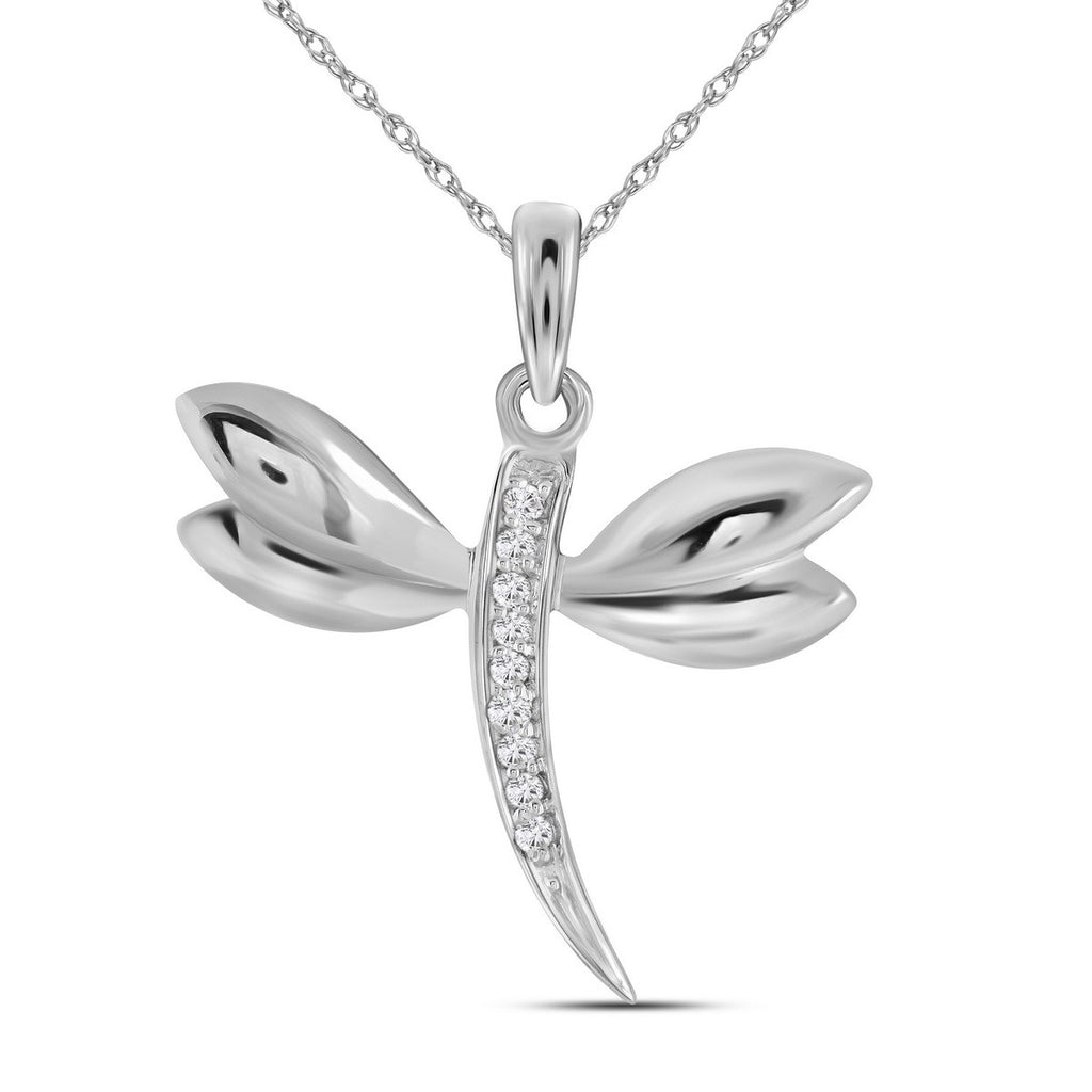14k White Gold Diamond-accented Dragonfly Womens Winged Bug Insect Charm Pendant .03 Cttw
